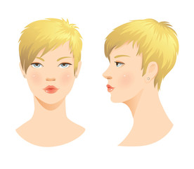 Beauty girl face. Various turns head with short blond haircut. Face in front. Face in profile