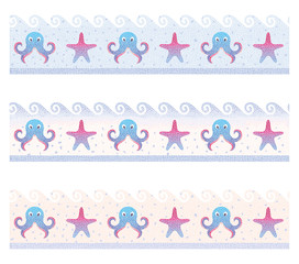 Seamless colored sea mosaic border/Vector illustration of seamless mosaic border on the marine theme