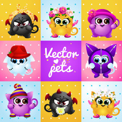 Set of funny cute creatures
