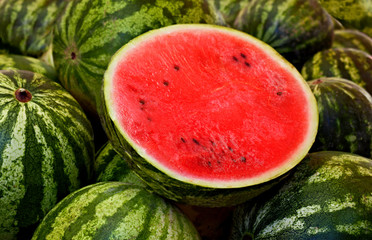 Fresh watermelon at the market