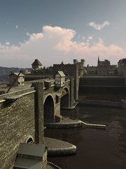 Wall Mural - Illustration of an old European Medieval bridge with gatehouse and half-timbered buildings, leading across a quiet river to the old town, 3d digitally rendered illustration