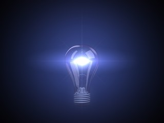 glowing blue lamp
