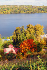View of Ples town, popular touristic landmark famous by its landscapes. Ples is situated on the Volga river. Autumn nature.