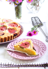 Slice of almond and fig tart