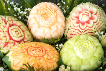 Ripe fruits carved,Culture and art carvings of Thailand