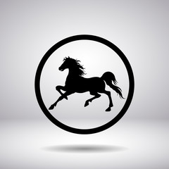 Silhouette of a horse in a circle