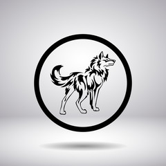 Silhouette of a wolf in a circle