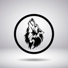 Silhouette of a wolf head in a circle
