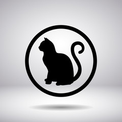 Silhouette of a cat in a circle