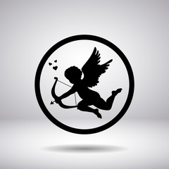 Silhouette of the cupid in a circle