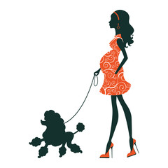 Illustration of a Beautiful woman silhouette  with poodle