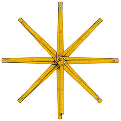 Wooden Folding Ruler Star Shaped / Old wooden yellow meter in the shape of eight-pointed star. Isolated on white background.