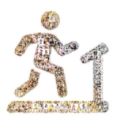 Running man icon. Formed out of people's photo.