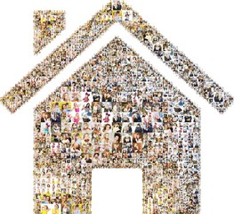 icon of house. collage with photos. Isolated