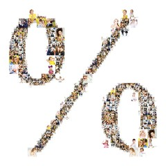 percent symbol formed of photos of people. Isolated on white background