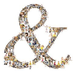 ampersand formed of photos of people. Isolated on white background