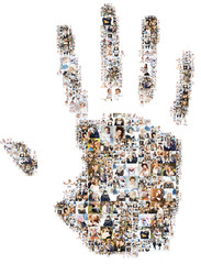Lots of photos of people form the palm of the hand. Isolated on white background. Design idea with non-smooth edges