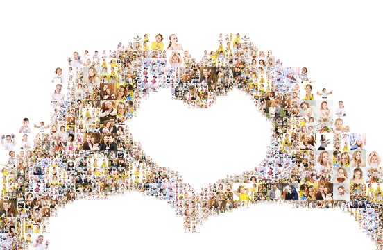 a large number of photographs of people, forms an image of the heart. Collage isolated on white background. Design idea edges are not smooth with protruding photos