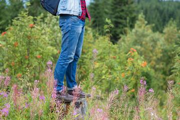 Men's feet on grass