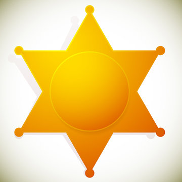 Classic western sheriff badge, sheriff star. Vector illustration