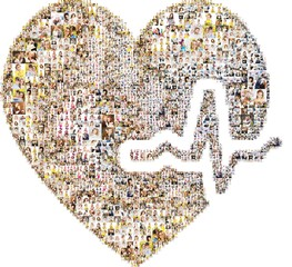 Icon heartbeat. A lot of pictures of people form an image