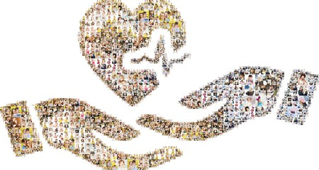a large number of photographs of people, forms an image of the blood donation. Collage isolated on white background.