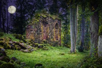 Old Church Ruins in night