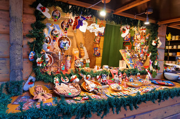 Christmas market stall with the huge variety of souvenirs in Rig