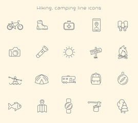 Hiking, Camping, Trekking, Adventure thin line icons, vector illustration