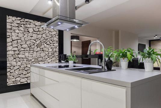 Beautiful white kitchen island