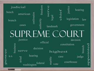 Supreme Court Word Cloud Concept on a Blackboard