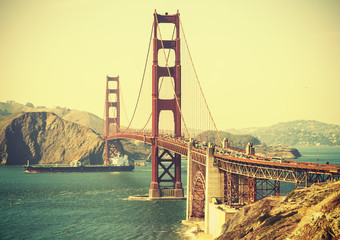 Old film retro style Golden Gate Bridge in San Francisco, USA.