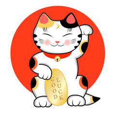 Maneki Neko Cat is wishing Good Luck. Vector illustration of a cute traditional east asian cat.