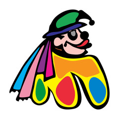 arts, jester, face, clown, human, circus, buffoon, fun, hat