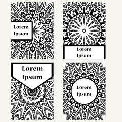 Set of design vertical template brochures. Hand drawn background with mandala. Can be used for yoga studio, invitation card or poster.