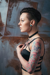 Tattooed woman portrait