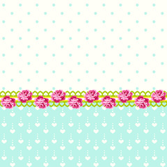 Vintage roses with polka dots and hearts background
