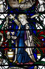 Mary the mother of Jesus in stained glass
