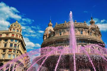 pink fountain on Piazza De Ferrari  in Genoa