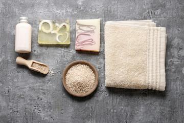 Spa set: liquid soap, bars of handmade soap, sea salt and towel.