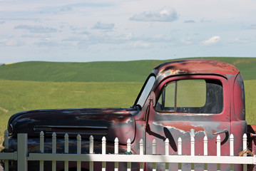Vintage Rusty Red Pickup Truck in the Country