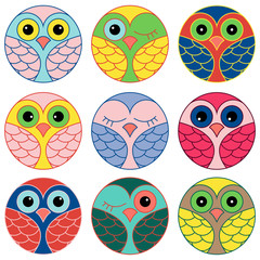 Nine funny owl faces in a circle
