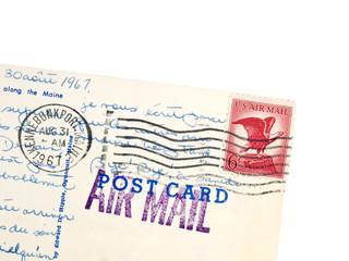 Old usa postcard corner 1967 with eagle stamp