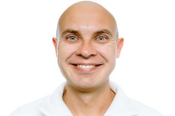 Bald smiling man. Isolated. Studio