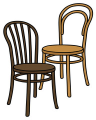 Two classic chairs / Hand drawing, vector