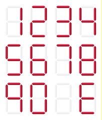 Collection of isolated digital numbers in red color