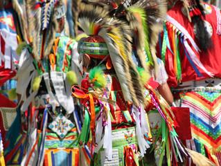 Zelfklevend Fotobehang Paradijsvogel Colorful Native American Regalia at a Summer Powwow