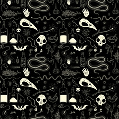 Magical pattern with animal skulls, skeletons of snakes