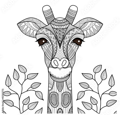 zentangle giraffe head for coloring page shirt design and so on