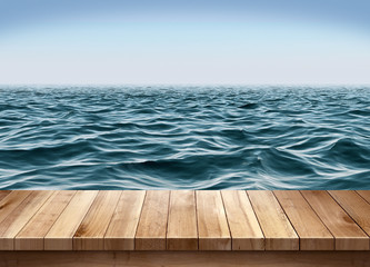 Blue ocean and clear sky with wooden platform Wall mural
